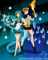 Sailor Uranus and Neptune by racookie3