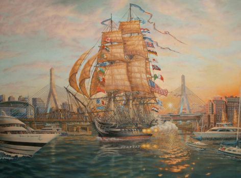 USS Constitution at Sunset by wfpardy