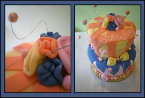Orange and Blue Cake by MillerTime30