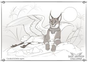 Gryphon Challenge 05 : Caracal and Egret by Pechschwinge