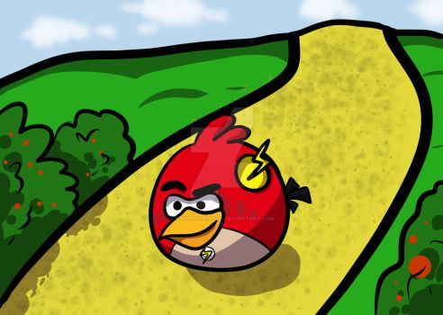 Angry bird as a hero on the yellow brick road by NavariCreation