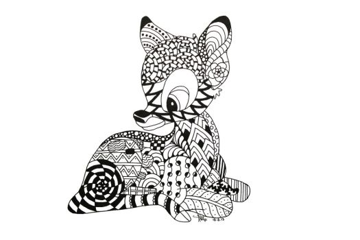 Bambi Zentangle by NeverDoubtILove