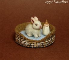 Ooak 1:12 Handmade Miniature Baby Bunny and bed by AGZR-STUDIOS