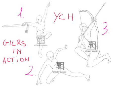 YCH: 3 Girls in Action Poses [OPEN] by Samy-Consu