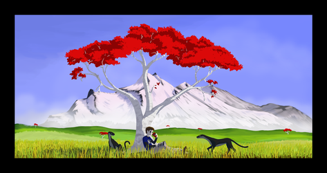 Resting Tree with Black Border by Sches