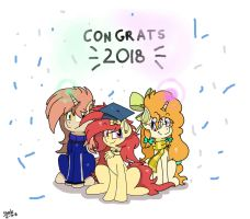 Misty, and her parents celebrating her graduation by StarlytheSillyArtist