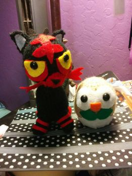 Crochet Litten and Rowlet by Lypten