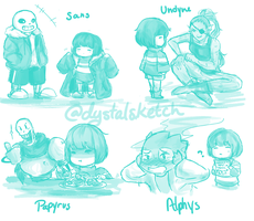 Undertale: Frisk with friends by dystalsketch
