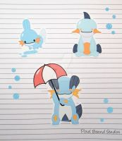Mudkip/Marshstomp/Swampert Stickers and Magnets by pixelboundstudios