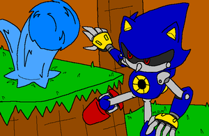 Sonic vs Metal - classic battle by mitchika2