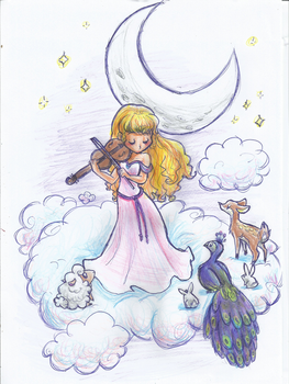 Violin and Moon by MyFantasyZone