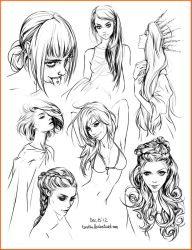hair style sketches by Tsvetka
