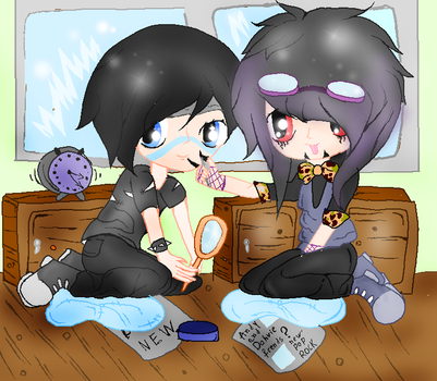 Andy and Dahvie getting ready for a concert by XxsilvixX