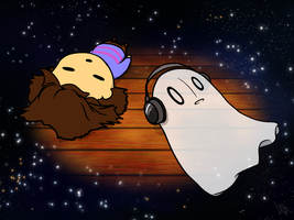 Napstablook and Frisk by yuten11