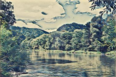 View of Dunajec river valley by Pappart