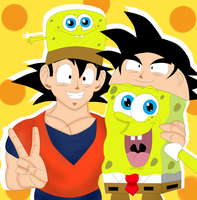 SpongeBob and Goku Hat Fun by CristianDarkraDx2496
