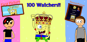 100 Watchers!!! by Spongecat1