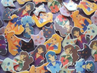 Sailor Moon Brooches by blua