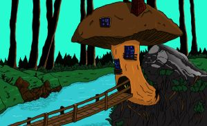 Mushroom House (Color) by lordnickage