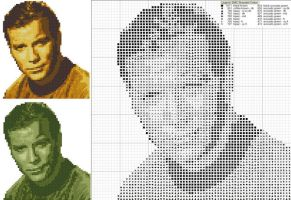 James T. Kirk Cross Stitch by black-lupin