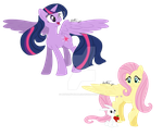 Twilight Sparkle and Fluttershy by BethanyBubbles