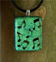 Green Music Fused Glass by FusedElegance