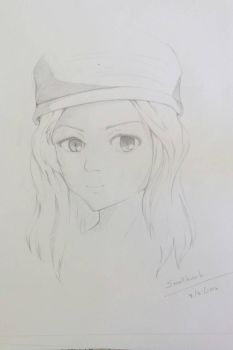 drawing girl and her hat by smallkank