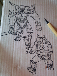 02 TMNT vs Orc - Ink by nekrosith