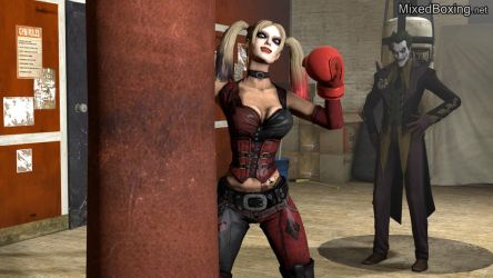 Training His Fighter - Harley Quinn and Joker by MixedBoxingArt