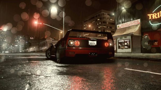 beautiful candy red Ferrari F40 at night  by electron1723