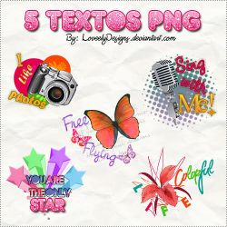 5 Textos Png by loveelydesigns