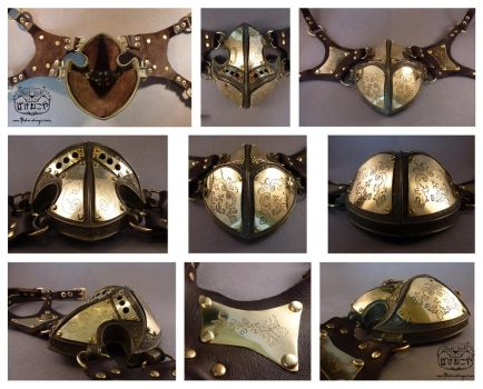 Steampunk respirator mask views by Bakenekoya
