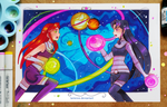Starfire vs Blackfire by larienne