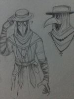 Plague Doctor - sketches by BloodMoon-Howler
