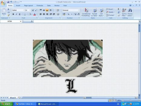 L of Death Note MS Excel by ignite25
