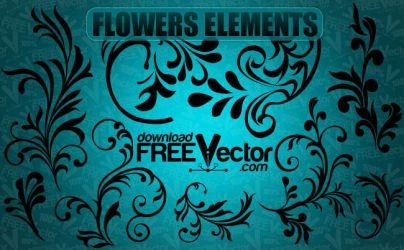 Vector Flowers Elements by downloadfreevector