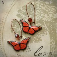Red butterflies earrings by BeautySpotCrafts