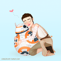Rey and BB8 by LionGirlArt