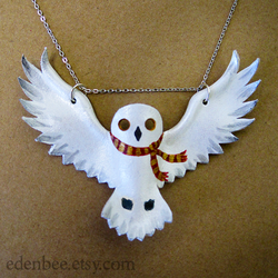 Hedwig + Gryffindor Scarf leather pendant necklace by shmeeden