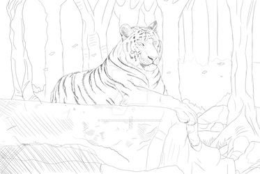 [Sketch W.I.P] Tiger resting by TheSketchingGamer
