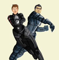 WIP Commission: F!Shep and Kaidan [for qeilla] by kamidoodles