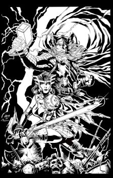 Thor and Sif by Fendiin