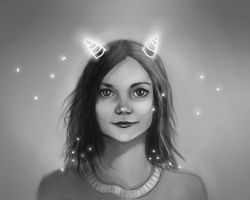 girl with horns by Lalochnica