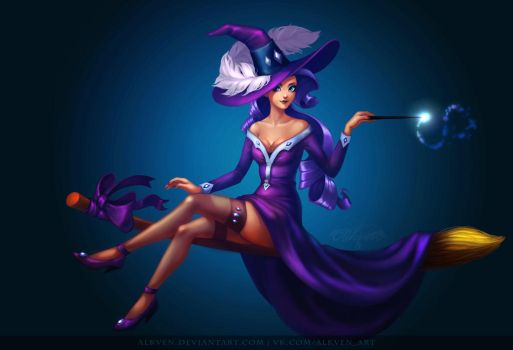 My little Pony Halloween Pinup Witches: Rarity by Alkven