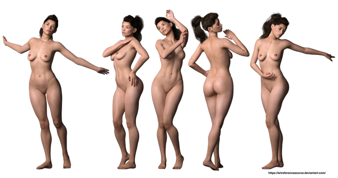 Stock PNG:  3d render of Mackenzie in 5 poses by ArtReferenceSource