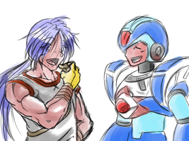 X and Ryu are happy by Metalwario64