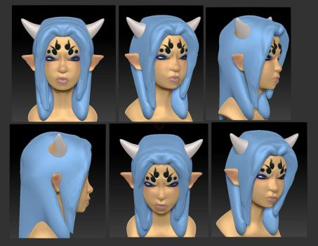 3DStudyHead DemonGirl v3 by ManiacPaint