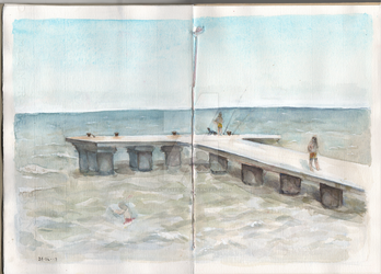 Seaside watercolour sketch by hanestetico