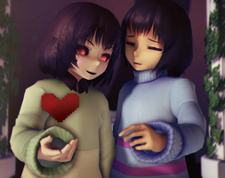 [MikuMikuDance|MMD] Chara and Frisk [UnderTale] by AngelinaSchmidt