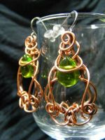Copper And Green Tear Earrings by BacktoEarthCreations